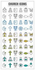 icons Church vector color black Yellow green blue on white backg