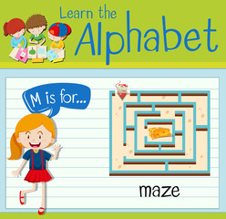 Flashcard alphabet M is for maze