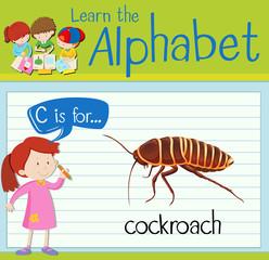 Flashcard alphabet C is for cockroach