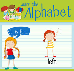 Flashcard alphabet L is for left