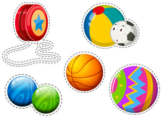 Sticker set of different balls