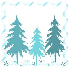 Three pine tree on white background