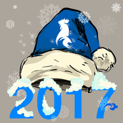 vector santa blue hat 2017