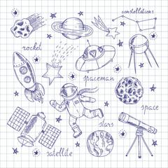 Space Explorers Doodles Set