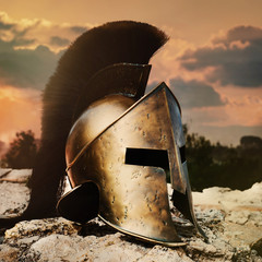 Spartan Helmet on sunset.