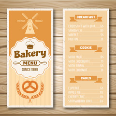 Bakery Shop Menu