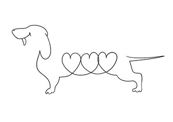 Original linear image of a Dachshund with hearts.
