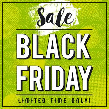 Black friday sale banner on green patterned background, vector