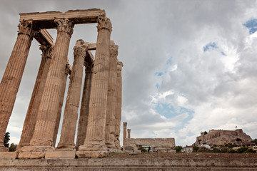 Olympian Zeus temple on the  Athens with dramatic sky, Greece
