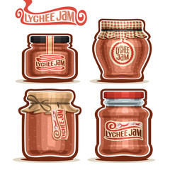 Vector logo Lychee Jam in Jars with paper lid, rustic Pot home made asian lychee jams, twine bow, set homemade litchi fruit jam jar, farm oriental dessert with label, checkered cloth isolated on white