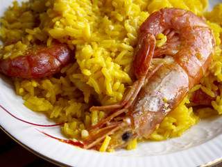 Yellow rice with shrimps