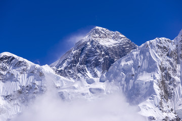 closed up view of Everest from Gorak Shep. During the way to Everest base camp. Sagarmatha national park. Nepal.