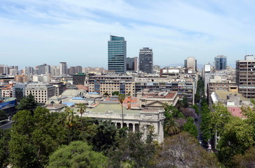 View of Santiago from mount Santa Lucia.