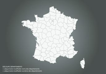Carte France avec découpe départements. Texte modifiable noms et numéros des départements