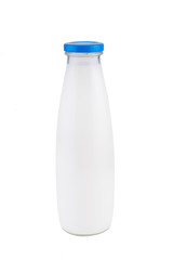 Milk bottle with blue lid. On white, isolated background.