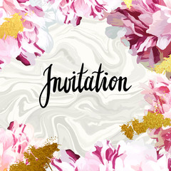 "Trendy marble and peony vector invitation template. Watercolor paint textured petals background. Natural stone, fresh flower burgundy ""marsala"" vinous velvet textures."