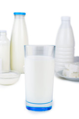 A glass of milk. Dairy products. On white, isolated background.