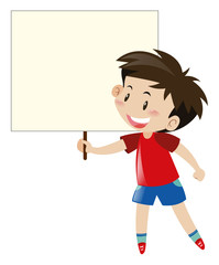Little boy in red shirt holding blank sign
