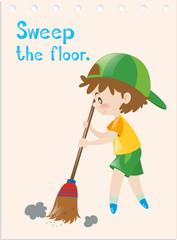 Flashcard of boy sweeping floor