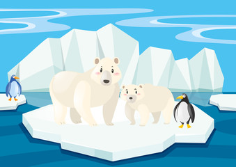 Polar bears and penguins on ice