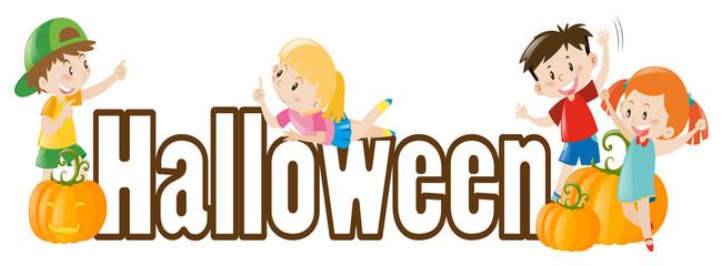 Halloween theme with kids and pumpkins