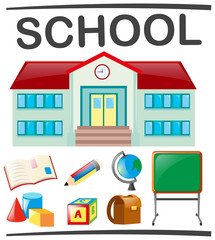 School set with school building and objects