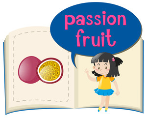 Girl and passion fruit in the book