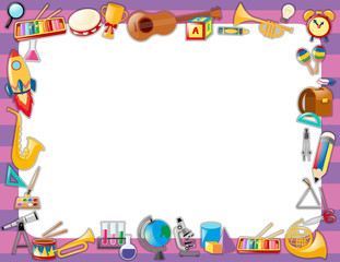 Paper template with instruments on border