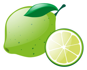 Green lemon with slice