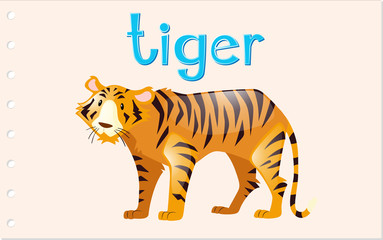Flashcard tiger with word