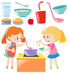 Set of girls cooking and food