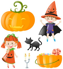 Halloween theme with kids and pumpkin