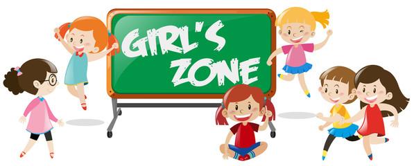 Many happy girls and blackboard