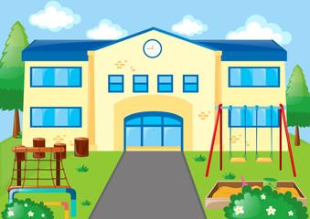 School scene with playground