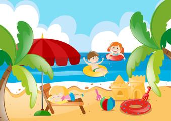 Kids swimming in the ocean