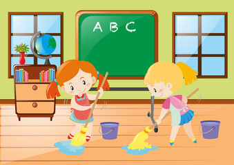Two girls cleaning classroom together