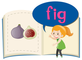 Girl and fig in the book