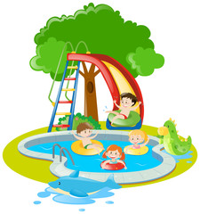 Children swimming and playing slide in pool