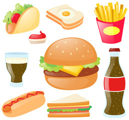 Different types of food and drinks