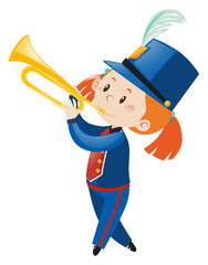 Girl in blue uniform playing trumpet