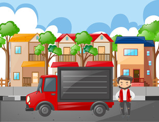 Man and red truck in the neighborhood