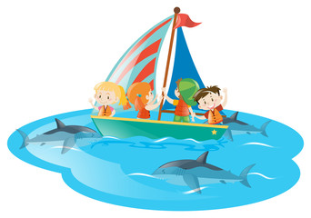 Kids on boat watching sharks swimming