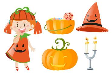 Halloween set with girl and jack-o-lantern