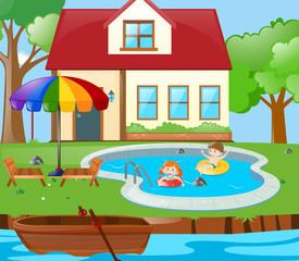 Two kids having fun in the pool