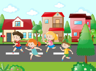Children running in the neighborhood