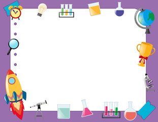 Border template with school equipment