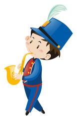 Boy in blue uniform playing saxophone