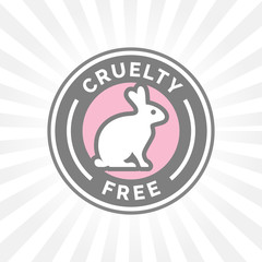 Animal cruelty free icon design with rabbit vector symbol. Product not tested on animals sign with grey, white and pink rabbit badge. Vector illustration.