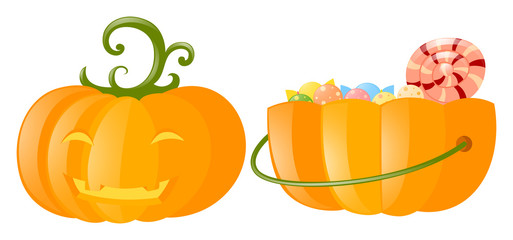 Jack-o-lantern and pumpkin bucket full of candy