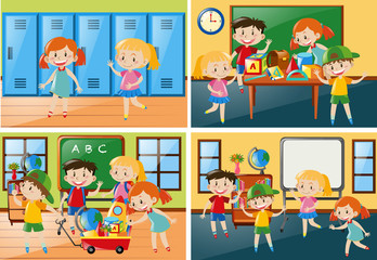 Four scenes with students at school